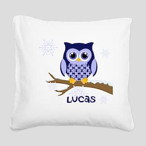 Custom name winter owl blue Square Canvas Pillow