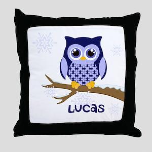 Custom name winter owl blue Throw Pillow