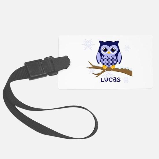 Custom name winter owl blue Luggage Tag