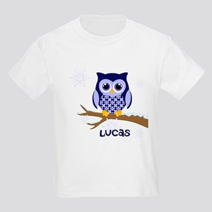 Custom name winter owl blue Kids Light T-Shirt