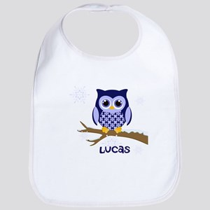 Custom name winter owl blue Bib