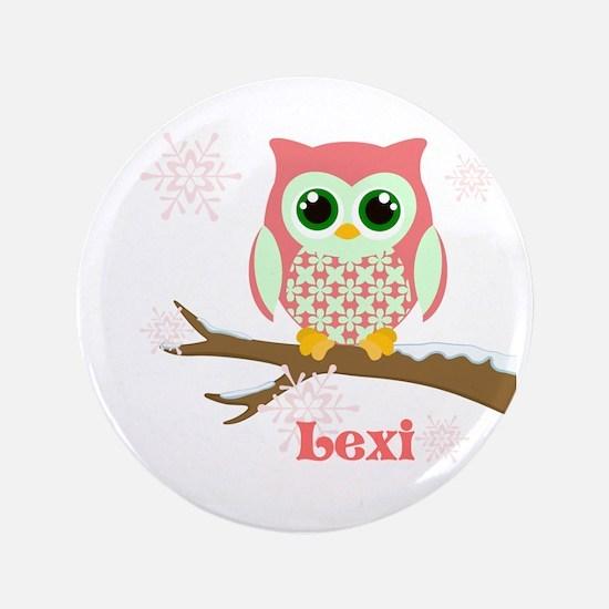 "Custom name winter owl girl 3.5"" Button"