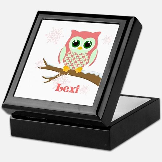 Custom name winter owl girl Keepsake Box