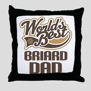 Briard Dad Dog Gift Throw Pillow