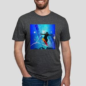 Snowboarding, snowboarder w Mens Tri-blend T-Shirt