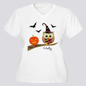 Custom name Halloween owl Women's Plus Size V-Neck