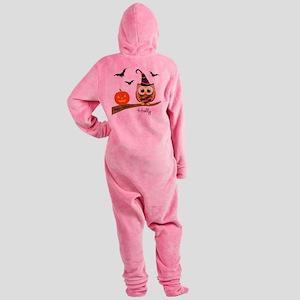 Custom name Halloween owl Footed Pajamas