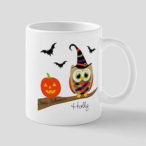Custom name Halloween owl Mug