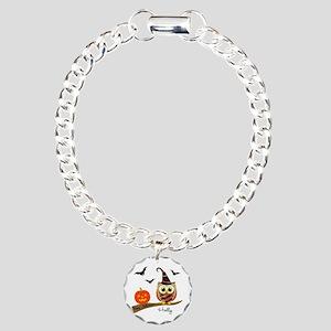 Custom name Halloween owl Charm Bracelet, One Char