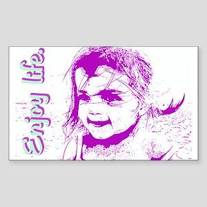 Enjoy Life Rectangle Sticker, Purple