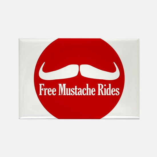 Free Mustache Rides Rectangle Magnet
