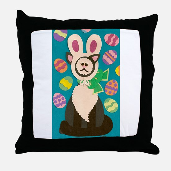 Mad Easter Cat Throw Pillow