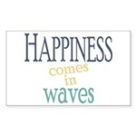 Happiness Comes in Waves Sticker (Rectangle 10 pk)