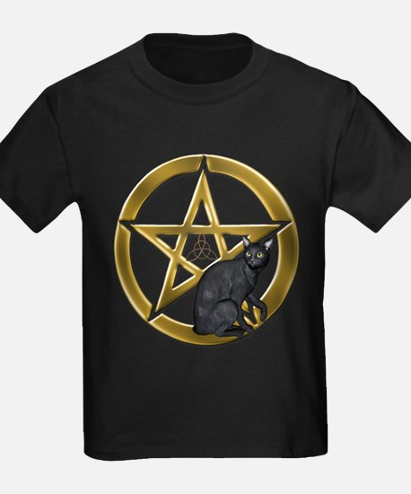 Pentacle Triquetra black cat T