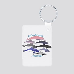 All Dolphins Lets Swim Together Aluminum Photo Key