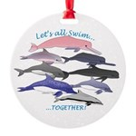 All Dolphins Lets Swim Together Round Ornament