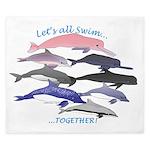 All Dolphins Lets Swim Together King Duvet