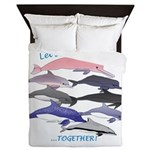 All Dolphins Lets Swim Together Queen Duvet