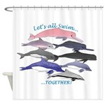 All Dolphins Lets Swim Together Shower Curtain