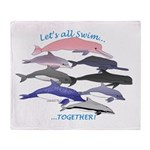 All Dolphins Lets Swim Together Throw Blanket