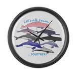 All Dolphins Lets Swim Together Large Wall Clock