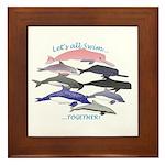 All Dolphins Lets Swim Together Framed Tile