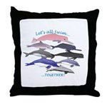 All Dolphins Lets Swim Together Throw Pillow