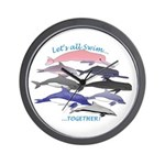 All Dolphins Lets Swim Together Wall Clock