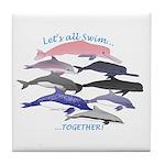 All Dolphins Lets Swim Together Tile Coaster