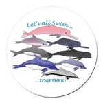 All Dolphins Lets Swim Together Round Car Magnet