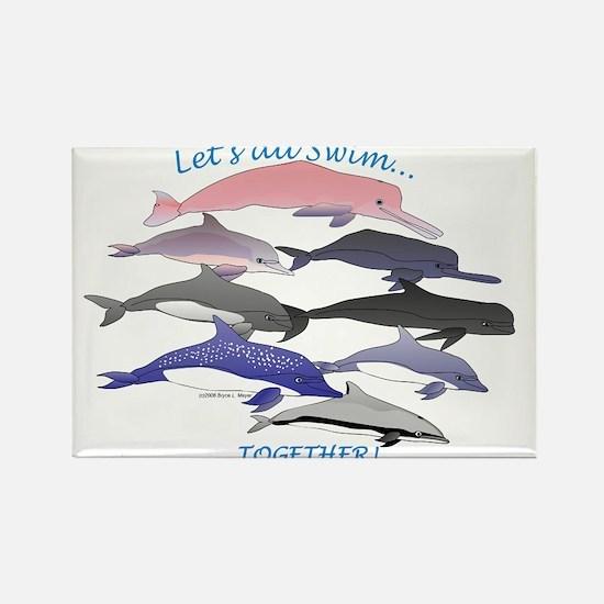 All Dolphins Lets Swim Together Rectangle Magnet