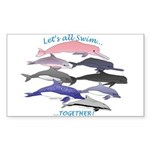 All Dolphins Lets Swim Together Sticker (Rectangle