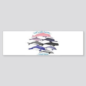 All Dolphins Lets Swim Together Sticker (Bumper)