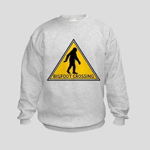 Bigfoot Crossing Caution SIgn Kids Sweatshirt