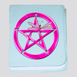 Pink Pentacle Dragonfly baby blanket