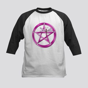 Pink Pentacle Dragonfly Kids Baseball Tee