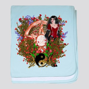 Summer Solstice Wicca Pentacle baby blanket