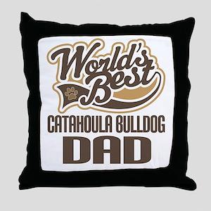 Catahoula Bulldog Dad Throw Pillow