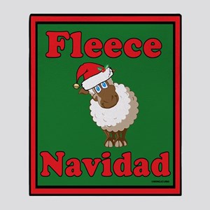 Fleece Navidad Throw Blanket (green)