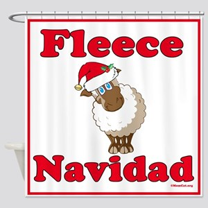 Fleece Navidad Shower Curtain (red)