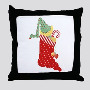 Elf in Stocking Throw Pillow