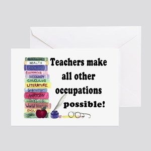 """""""Teacher Occupations"""" Greeting Cards (Pk of 10"""