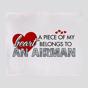 Piece of my heart Airman Throw Blanket