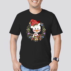 Christmas Penguin Holiday Wreath Men's Fitted T-Sh
