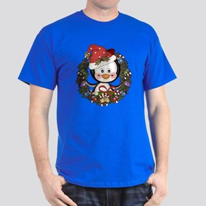 Christmas Penguin Holiday Wreath Dark T-Shirt