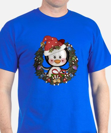 Christmas Penguin Holiday Wreath T-Shirt