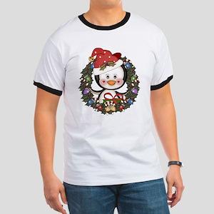 Christmas Penguin Holiday Wreath Ringer T