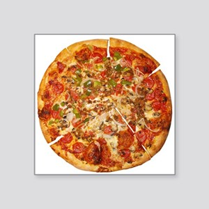 "Thank God for Pizza Square Sticker 3"" x 3"""