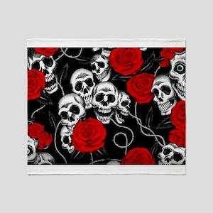 Cool Kids Skulls and Roses Designs Throw Blanket
