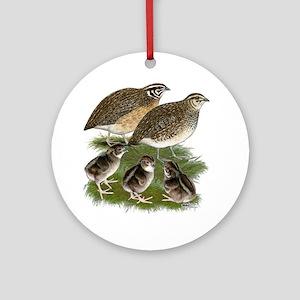 Coturnix Quail Family Ornament (Round)